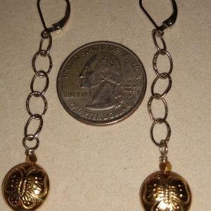 14GF & Silver Butterfly embossed earrings